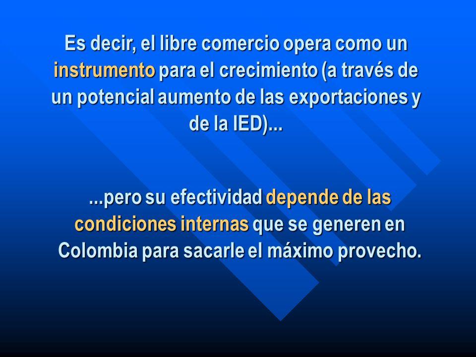 Es decir, el libre comercio opera como un instrumento para el crecimiento (a través de un potencial aumento de las exportaciones y de la IED)......per