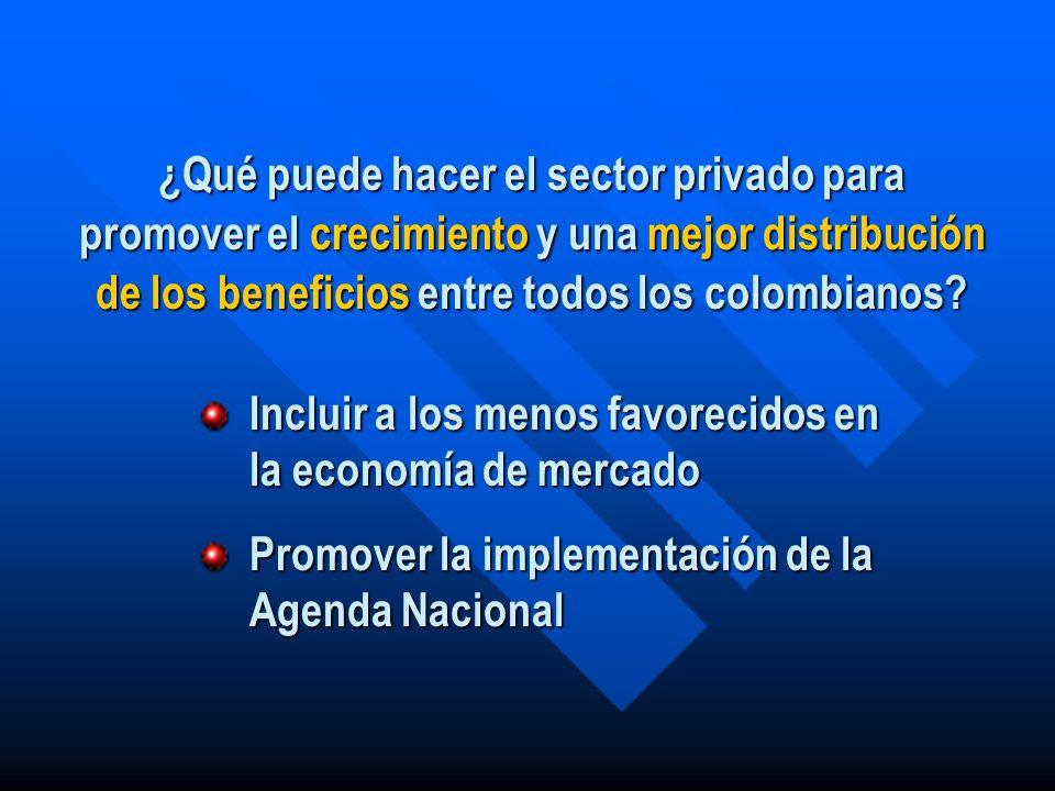 ¿Qué puede hacer el sector privado para promover el crecimiento y una mejor distribución de los beneficios entre todos los colombianos? Incluir a los