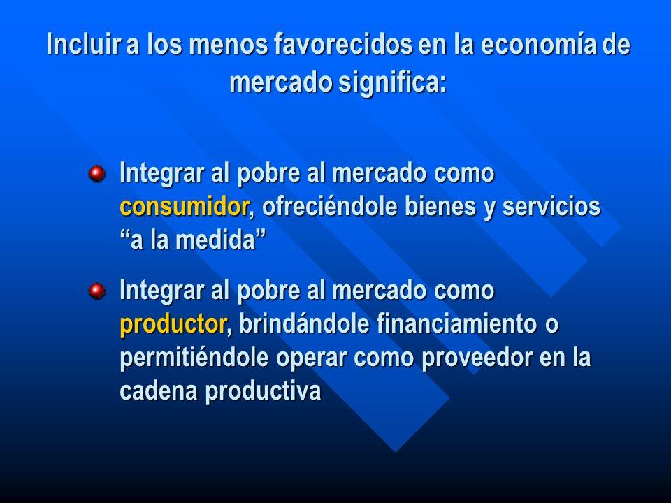 Incluir a los menos favorecidos en la economía de mercado significa: Integrar al pobre al mercado como consumidor, ofreciéndole bienes y servicios a l