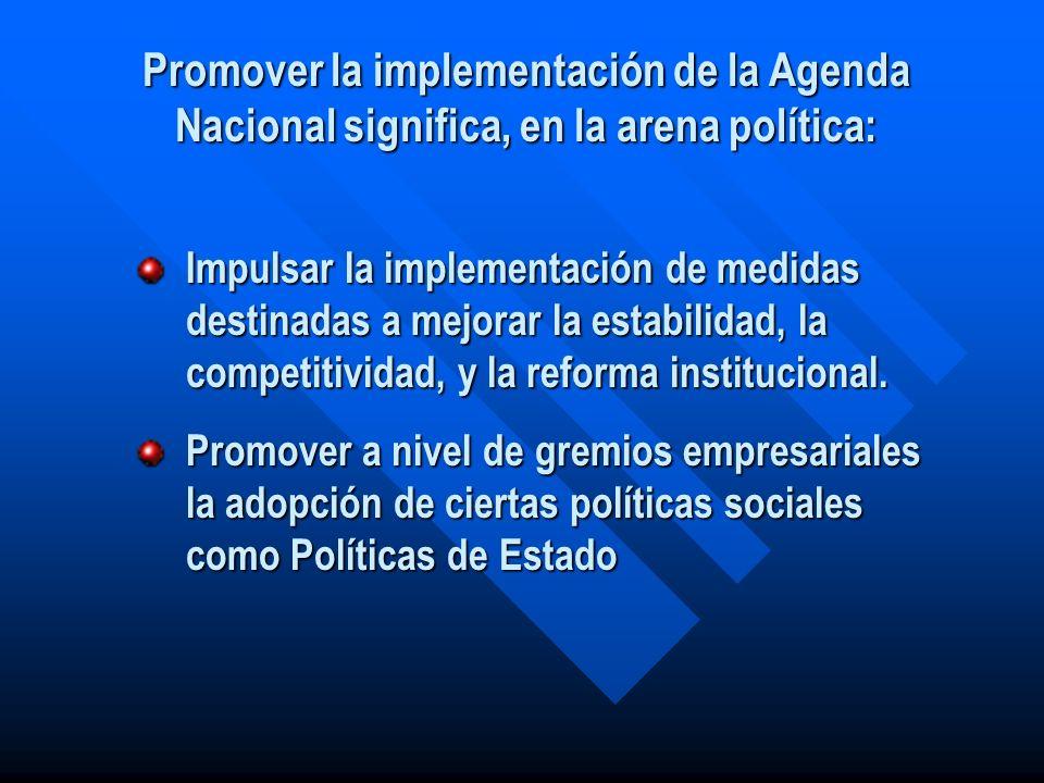 Promover la implementación de la Agenda Nacional significa, en la arena política: Impulsar la implementación de medidas destinadas a mejorar la estabi