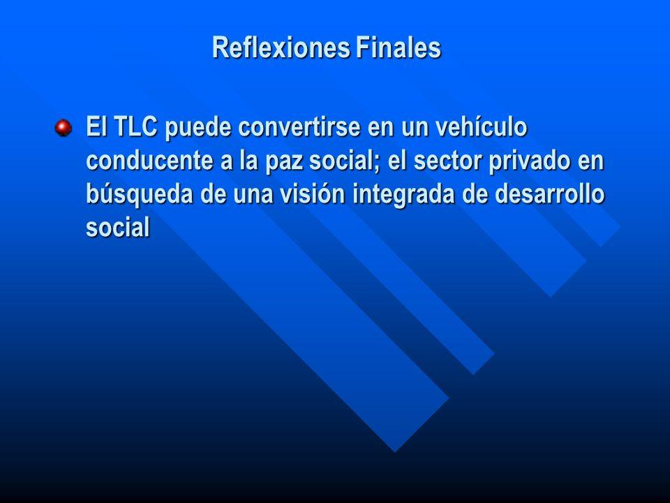 El TLC puede convertirse en un vehículo conducente a la paz social; el sector privado en búsqueda de una visión integrada de desarrollo social Reflexi
