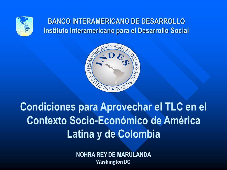 BANCO INTERAMERICANO DE DESARROLLO Instituto Interamericano para el Desarrollo Social Condiciones para Aprovechar el TLC en el Contexto Socio-Económic