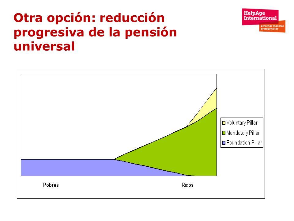 Otra opción: reducción progresiva de la pensión universal