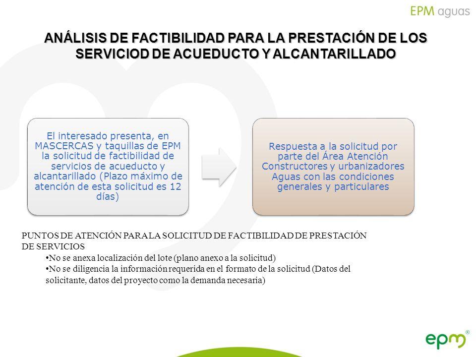 Empresas Públicas de Medellín E.S.P. ANÁLISIS DE FACTIBILIDAD PARA LA PRESTACIÓN DE LOS SERVICIOD DE ACUEDUCTO Y ALCANTARILLADO El interesado presenta