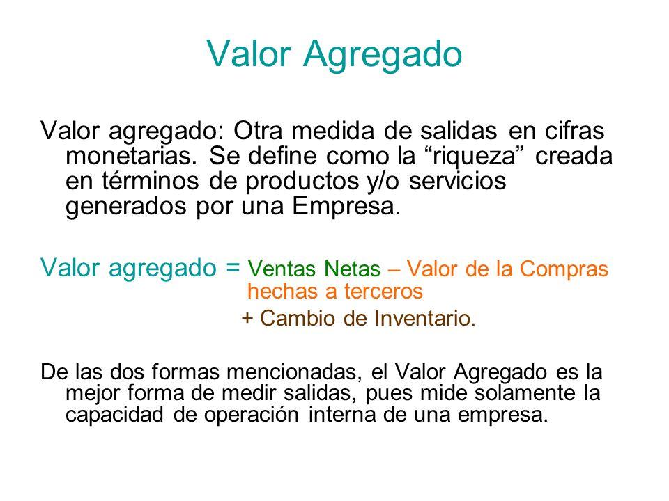 Valor Agregado Valor agregado: Otra medida de salidas en cifras monetarias. Se define como la riqueza creada en términos de productos y/o servicios ge
