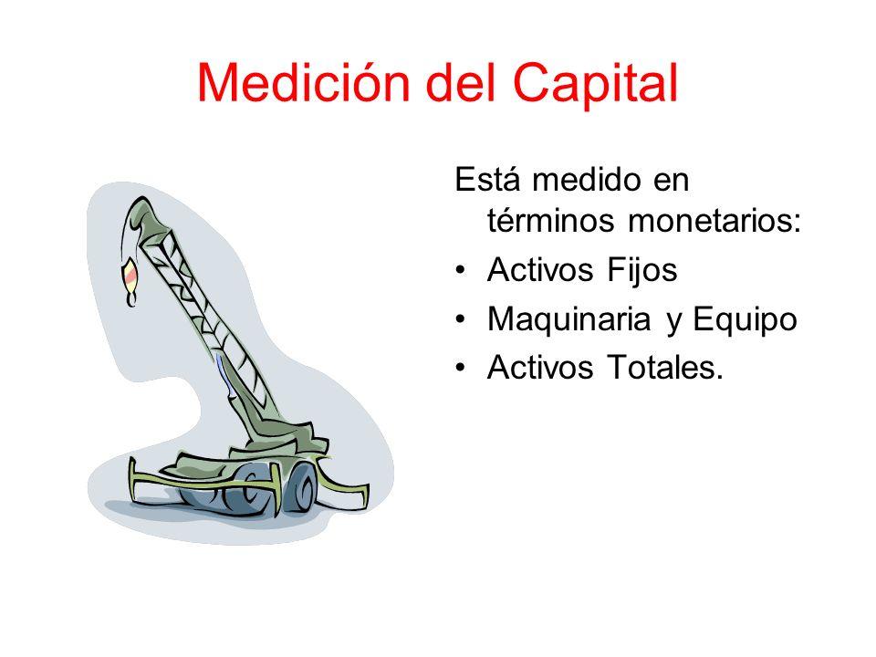 Medición del Capital Está medido en términos monetarios: Activos Fijos Maquinaria y Equipo Activos Totales.