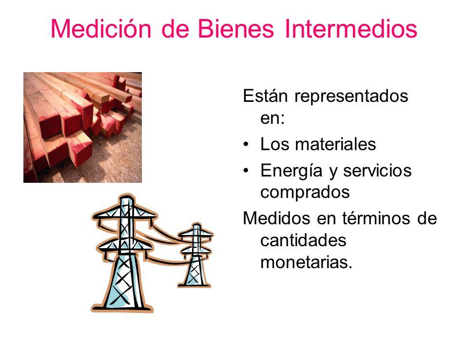 Medición de Bienes Intermedios Están representados en: Los materiales Energía y servicios comprados Medidos en términos de cantidades monetarias.