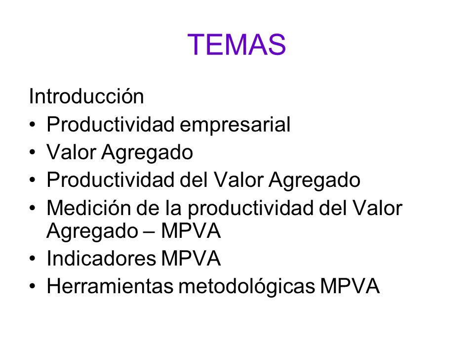 TEMAS Introducción Productividad empresarial Valor Agregado Productividad del Valor Agregado Medición de la productividad del Valor Agregado – MPVA In