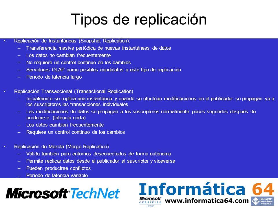Tipos de replicación Replicación de Instantáneas (Snapshot Replication): –Transferencia masiva periódica de nuevas instantáneas de datos –Los datos no