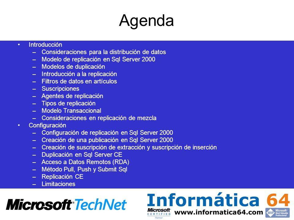 Agenda Introducción –Consideraciones para la distribución de datos –Modelo de replicación en Sql Server 2000 –Modelos de duplicación –Introducción a l