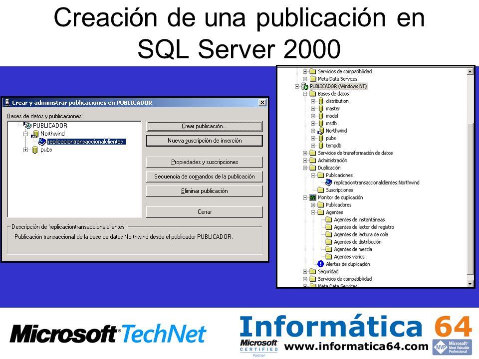 Creación de una publicación en SQL Server 2000