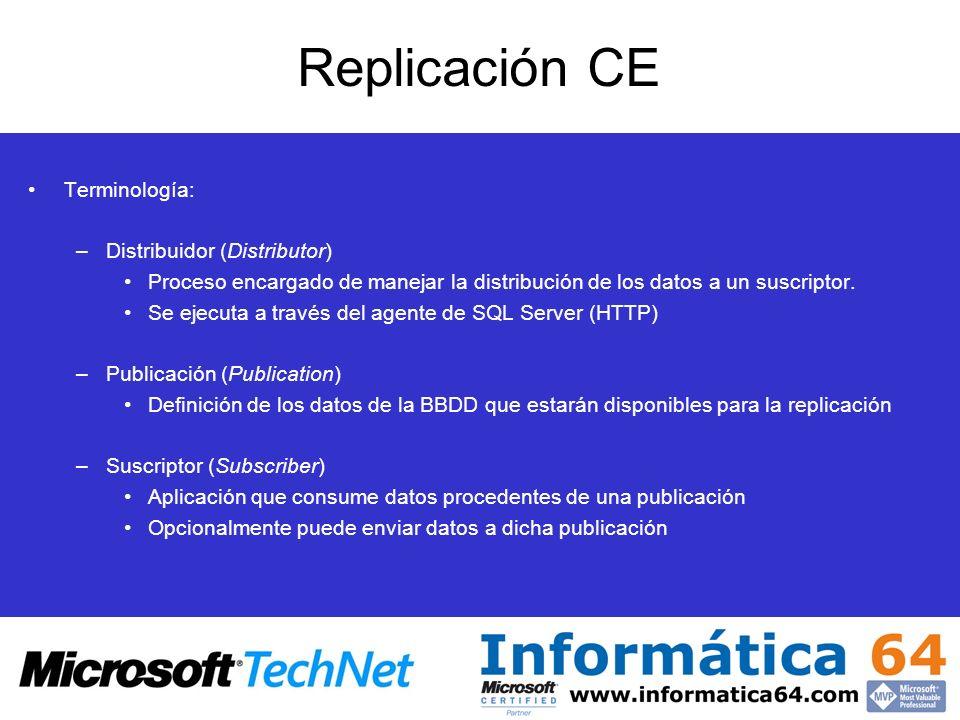 Terminología: –Distribuidor (Distributor) Proceso encargado de manejar la distribución de los datos a un suscriptor. Se ejecuta a través del agente de
