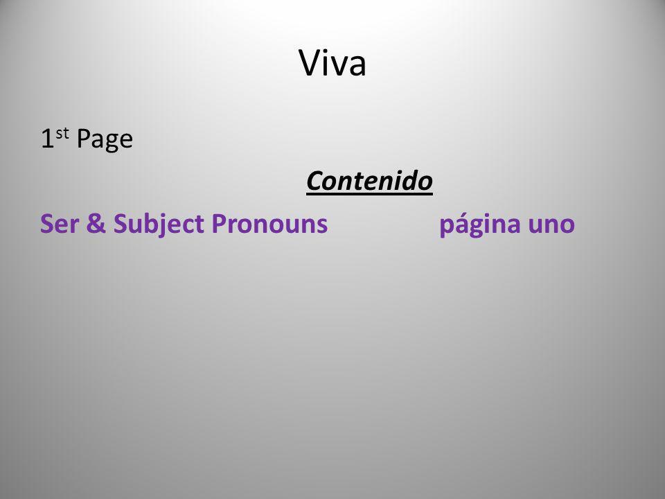 1 st Page Contenido Ser & Subject Pronounspágina uno