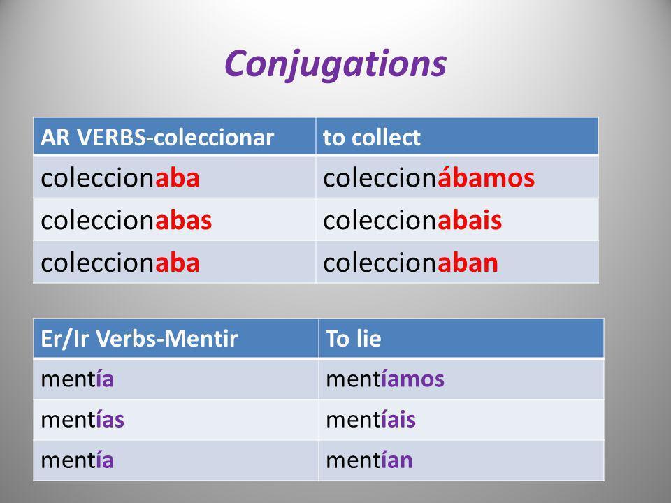Conjugations AR VERBS-coleccionarto collect coleccionabacoleccionábamos coleccionabascoleccionabais coleccionabacoleccionaban Er/Ir Verbs-MentirTo lie
