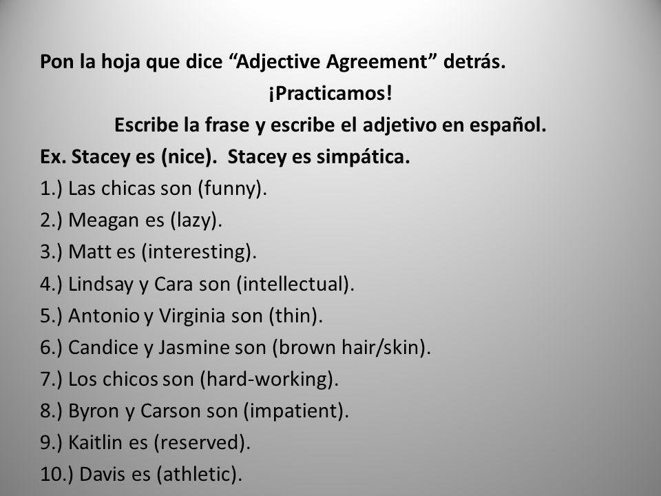 Pon la hoja que dice Adjective Agreement detrás. ¡Practicamos! Escribe la frase y escribe el adjetivo en español. Ex. Stacey es (nice). Stacey es simp