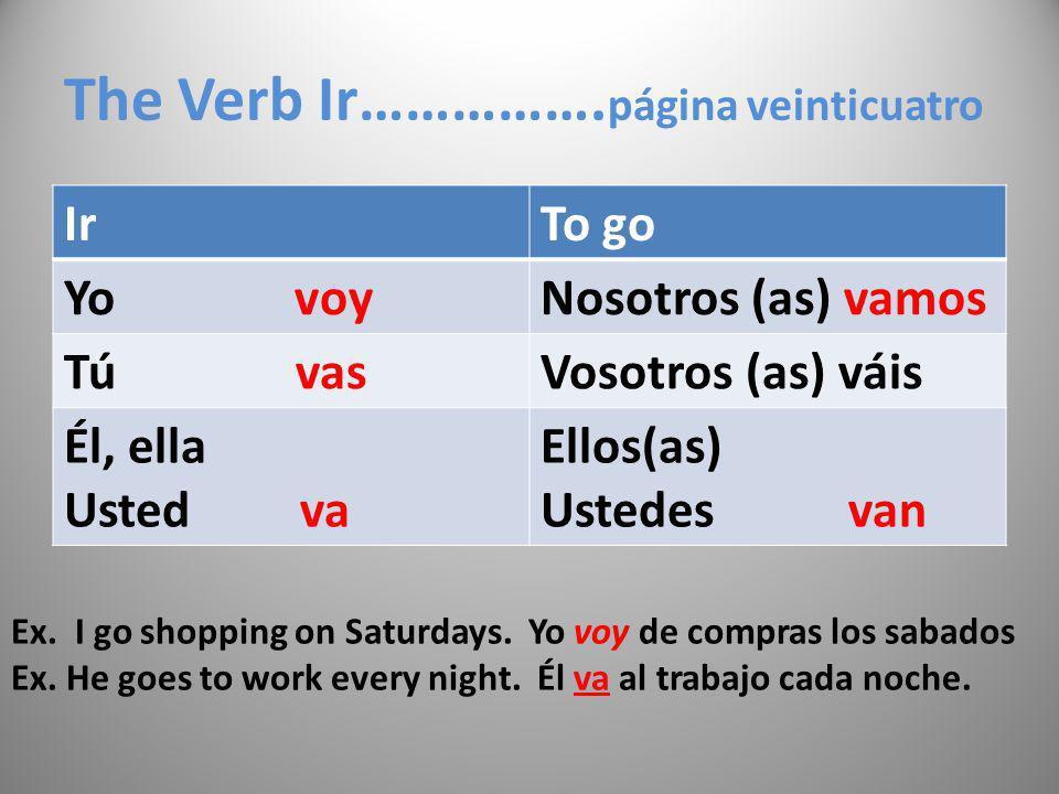 The Verb Ir……………. página veinticuatro IrTo go Yo voyNosotros (as) vamos Tú vasVosotros (as) váis Él, ella Usted va Ellos(as) Ustedes van Ex. I go shop