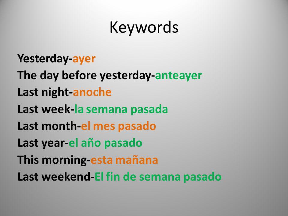 Keywords Yesterday-ayer The day before yesterday-anteayer Last night-anoche Last week-la semana pasada Last month-el mes pasado Last year-el año pasad