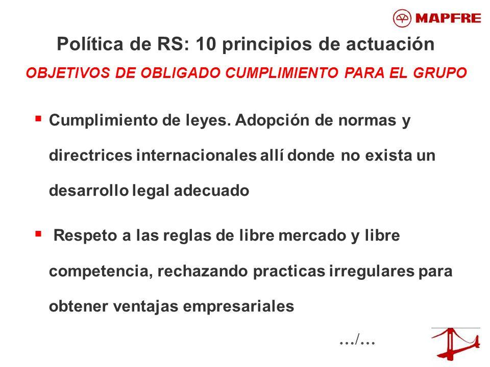 Cumplimiento de leyes. Adopción de normas y directrices internacionales allí donde no exista un desarrollo legal adecuado Respeto a las reglas de libr