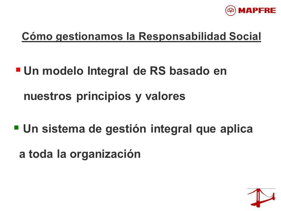 Un modelo Integral de RS basado en nuestros principios y valores Un sistema de gestión integral que aplica a toda la organización Cómo gestionamos la