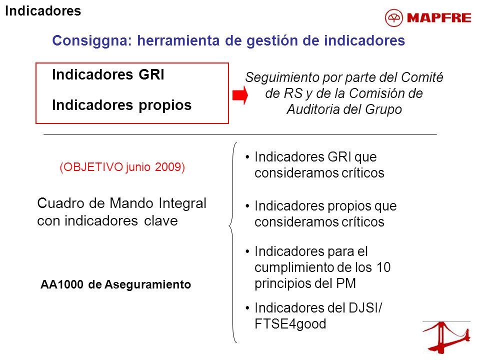 Indicadores GRI Consiggna: herramienta de gestión de indicadores Indicadores propios Cuadro de Mando Integral con indicadores clave Indicadores GRI qu