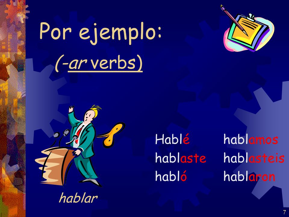 6 REMEMBER: accents on the yo form and the él / ella / Ud. form -ar / -ir nosotros form is the same in present and preterit