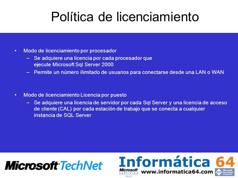 Política de licenciamiento Modo de licenciamiento por procesador –Se adquiere una licencia por cada procesador que ejecute Microsoft Sql Server 2000 –