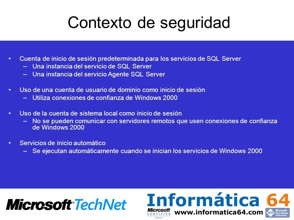 Contexto de seguridad Cuenta de inicio de sesión predeterminada para los servicios de SQL Server –Una instancia del servicio de SQL Server –Una instan