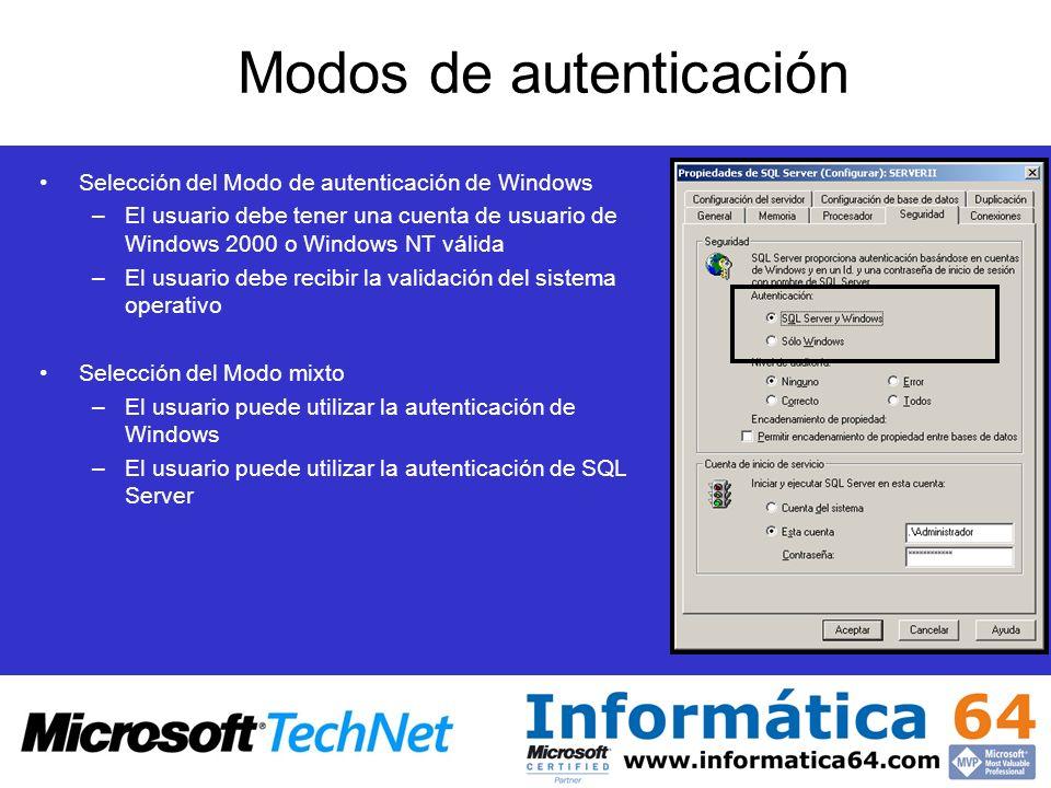 Modos de autenticación Selección del Modo de autenticación de Windows –El usuario debe tener una cuenta de usuario de Windows 2000 o Windows NT válida