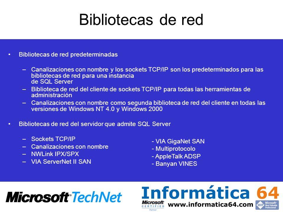 Bibliotecas de red Bibliotecas de red predeterminadas –Canalizaciones con nombre y los sockets TCP/IP son los predeterminados para las bibliotecas de