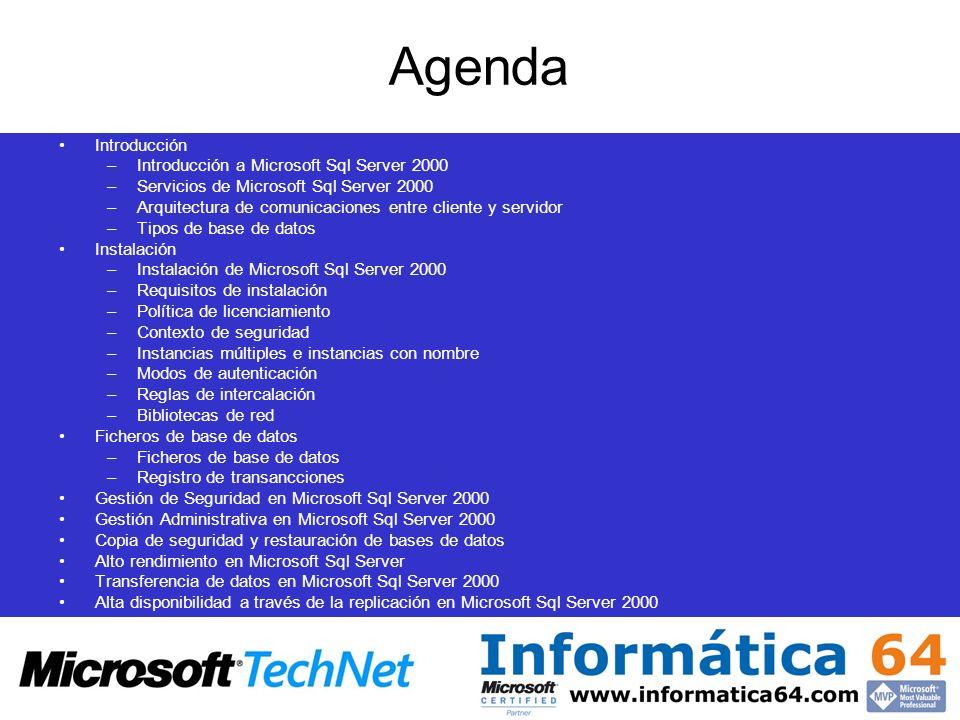 Agenda Introducción –Introducción a Microsoft Sql Server 2000 –Servicios de Microsoft Sql Server 2000 –Arquitectura de comunicaciones entre cliente y