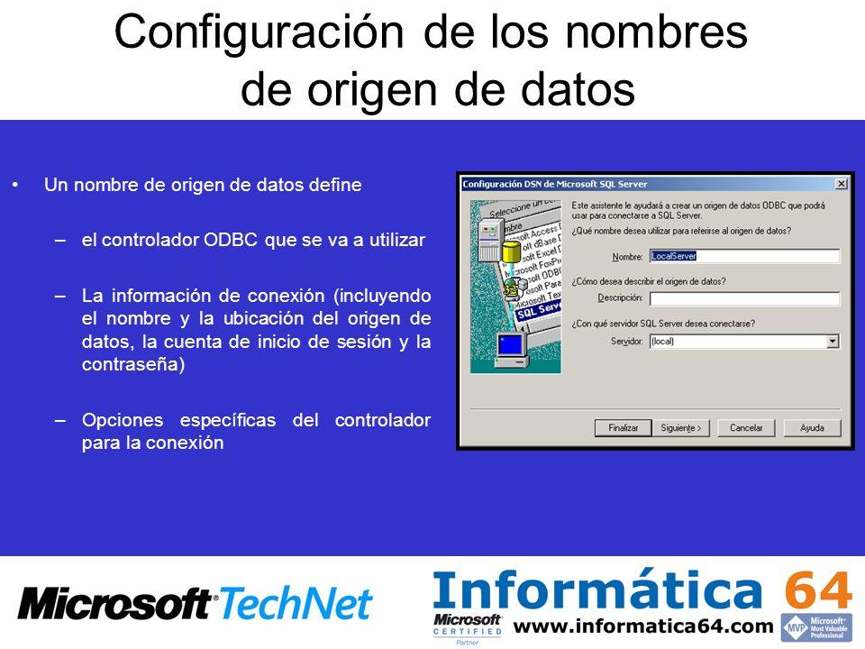 Configuración de los nombres de origen de datos Un nombre de origen de datos define –el controlador ODBC que se va a utilizar –La información de conex