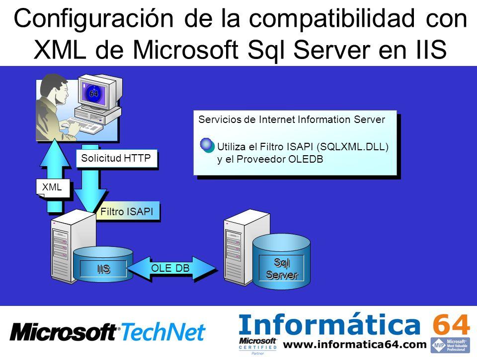 Configuración de la compatibilidad con XML de Microsoft Sql Server en IIS Filtro ISAPI Servicios de Internet Information Server Utiliza el Filtro ISAP