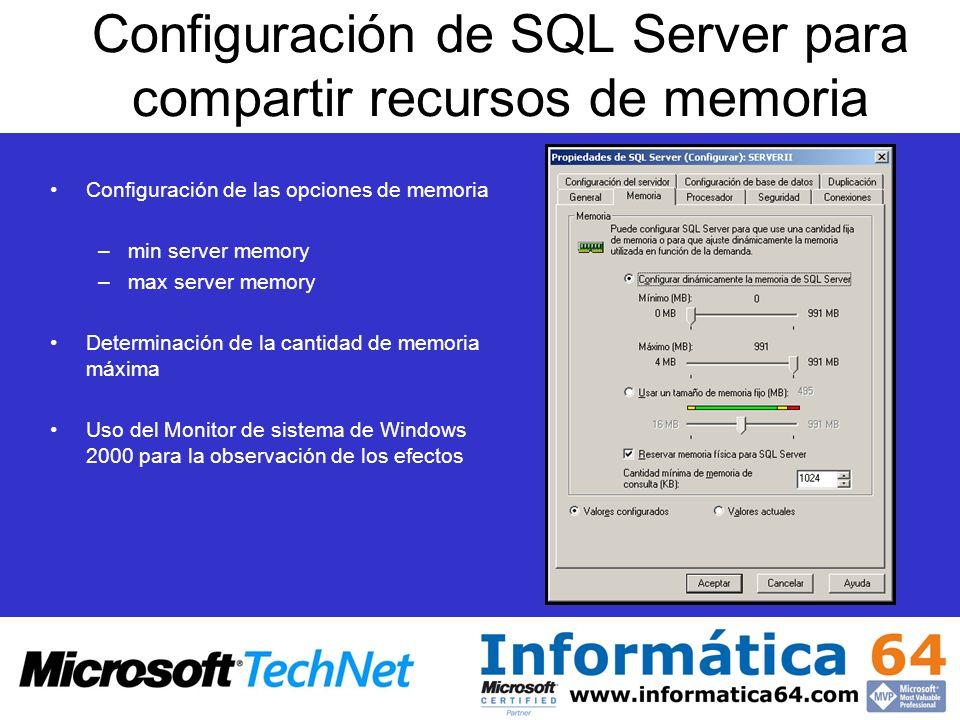 Configuración de SQL Server para compartir recursos de memoria Configuración de las opciones de memoria –min server memory –max server memory Determin