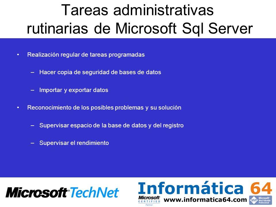 Tareas administrativas rutinarias de Microsoft Sql Server Realización regular de tareas programadas –Hacer copia de seguridad de bases de datos –Impor
