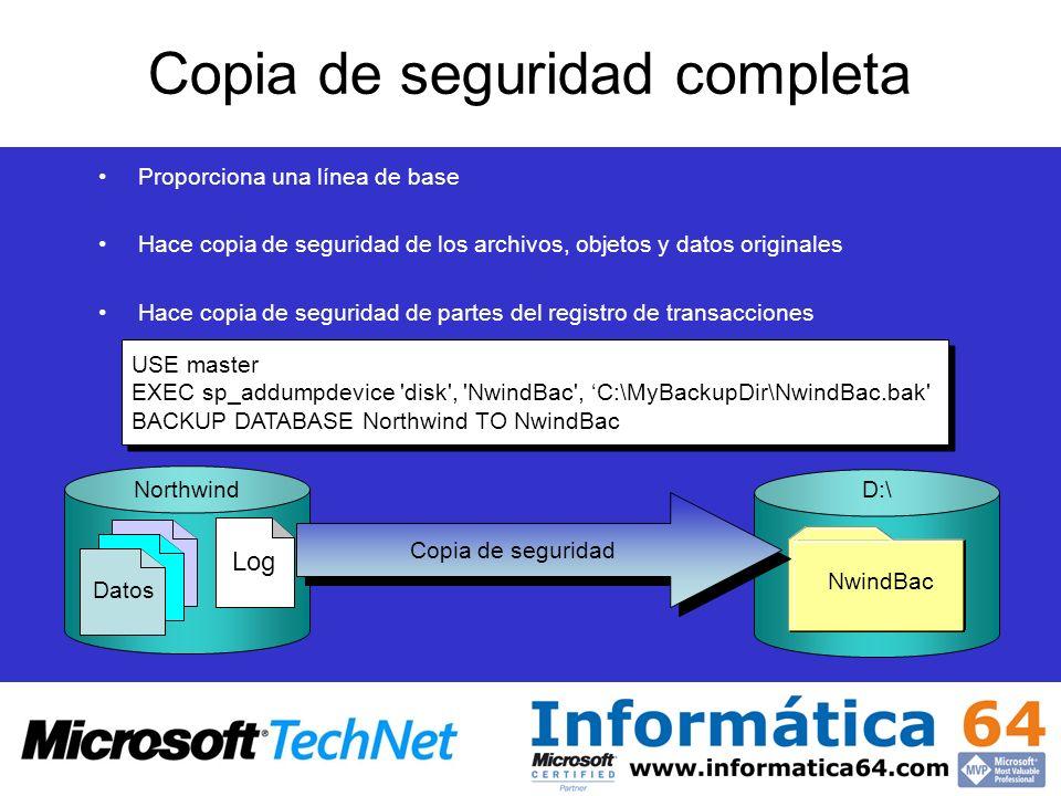 Copia de seguridad completa Proporciona una línea de base Hace copia de seguridad de los archivos, objetos y datos originales Hace copia de seguridad