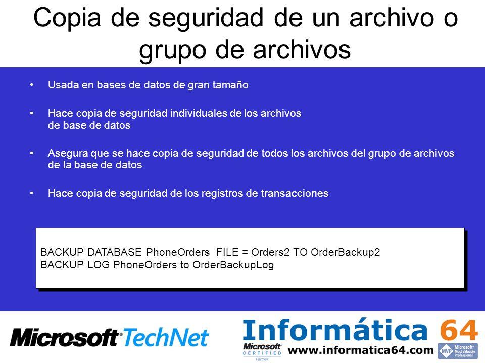 Copia de seguridad de un archivo o grupo de archivos Usada en bases de datos de gran tamaño Hace copia de seguridad individuales de los archivos de ba
