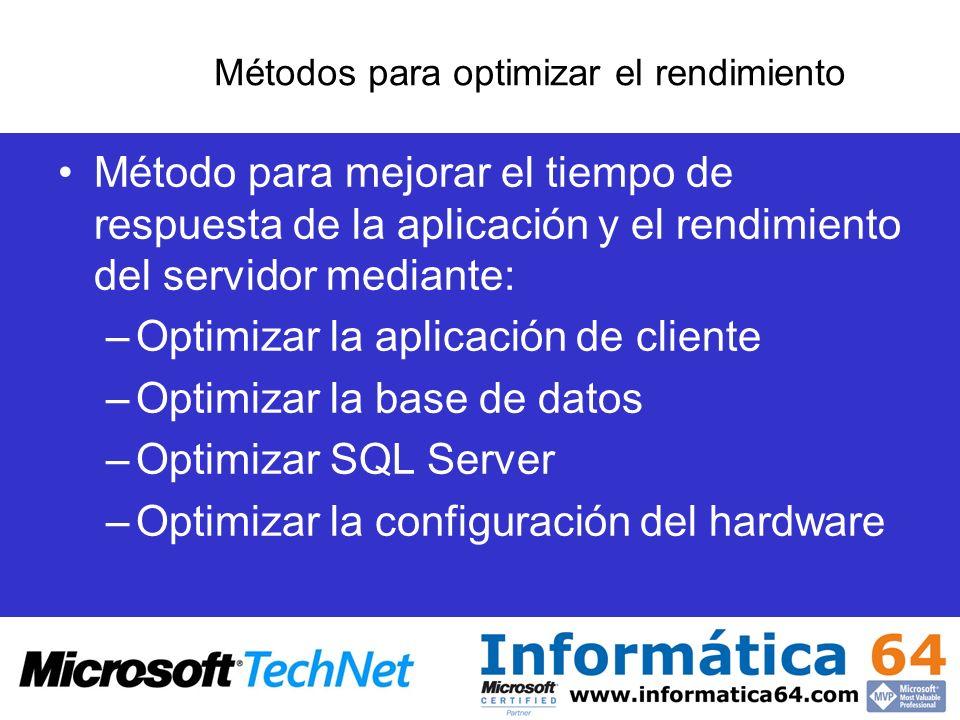 Métodos para optimizar el rendimiento Método para mejorar el tiempo de respuesta de la aplicación y el rendimiento del servidor mediante: –Optimizar l