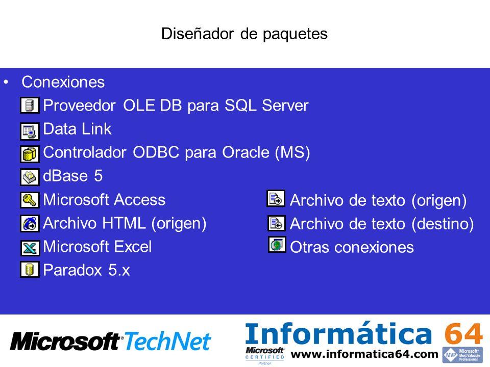 Diseñador de paquetes Conexiones Proveedor OLE DB para SQL Server Data Link Controlador ODBC para Oracle (MS) dBase 5 Microsoft Access Archivo HTML (o