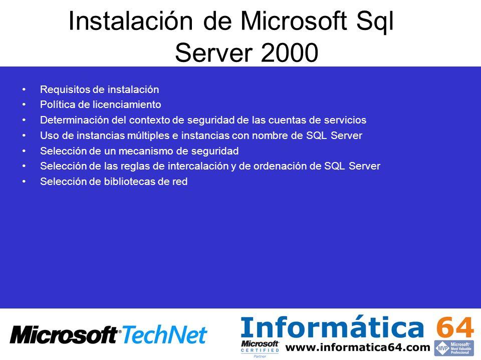 Instalación de Microsoft Sql Server 2000 Requisitos de instalación Política de licenciamiento Determinación del contexto de seguridad de las cuentas d