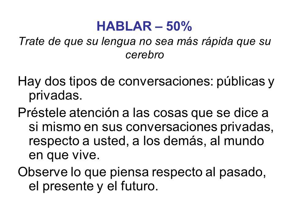 HABLAR – 50% Trate de que su lengua no sea más rápida que su cerebro Hay dos tipos de conversaciones: públicas y privadas. Préstele atención a las cos