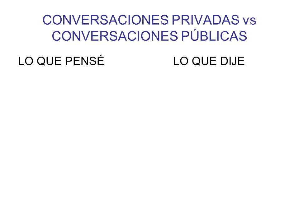 CONVERSACIONES PRIVADAS vs CONVERSACIONES PÚBLICAS LO QUE PENSÉ LO QUE DIJE