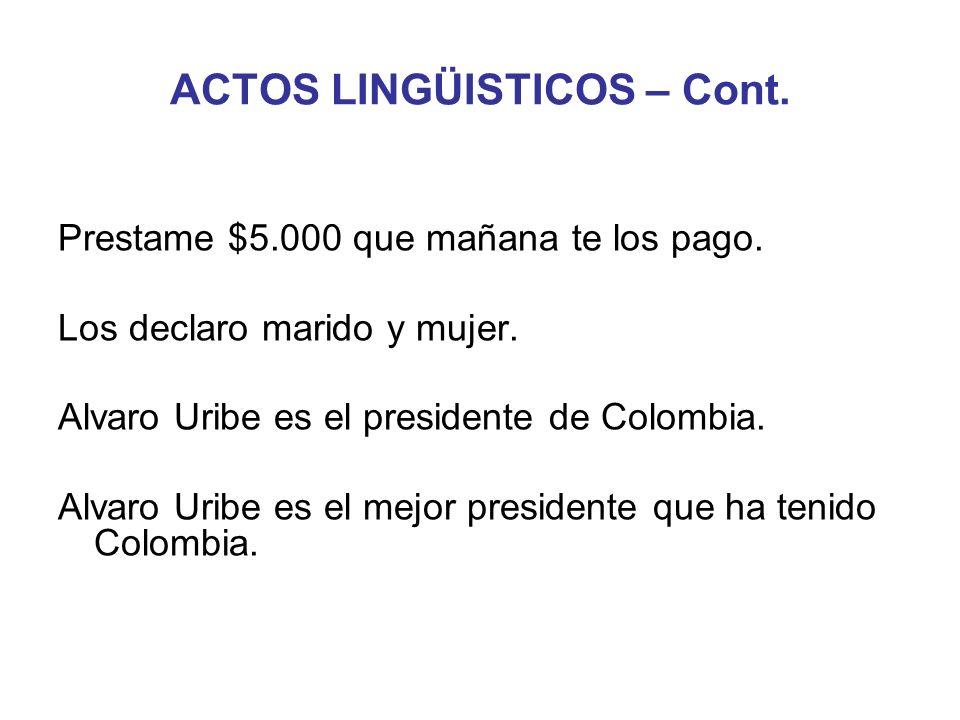 ACTOS LINGÜISTICOS – Cont. Prestame $5.000 que mañana te los pago. Los declaro marido y mujer. Alvaro Uribe es el presidente de Colombia. Alvaro Uribe
