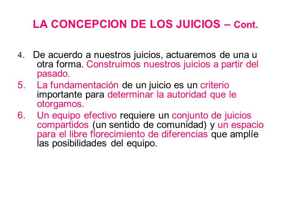 LA CONCEPCION DE LOS JUICIOS – Cont. 4. De acuerdo a nuestros juicios, actuaremos de una u otra forma. Construimos nuestros juicios a partir del pasad