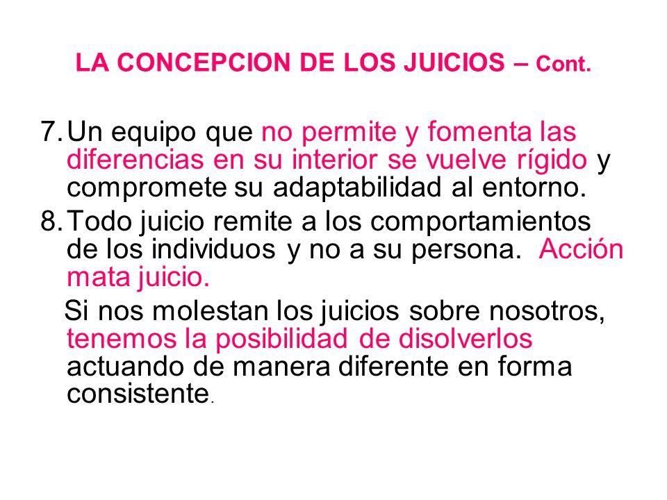 LA CONCEPCION DE LOS JUICIOS – Cont. 7.Un equipo que no permite y fomenta las diferencias en su interior se vuelve rígido y compromete su adaptabilida