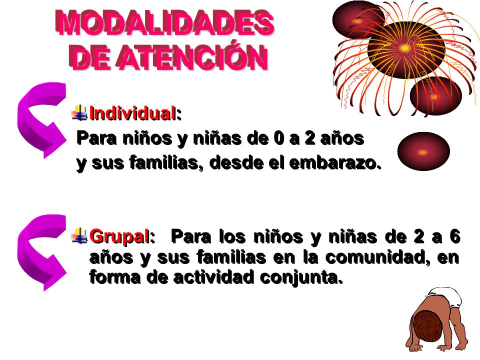 MODALIDADES DE ATENCIÓN DE ATENCIÓN MODALIDADES DE ATENCIÓN Individual: Para niños y niñas de 0 a 2 años y sus familias, desde el embarazo. Grupal: Pa