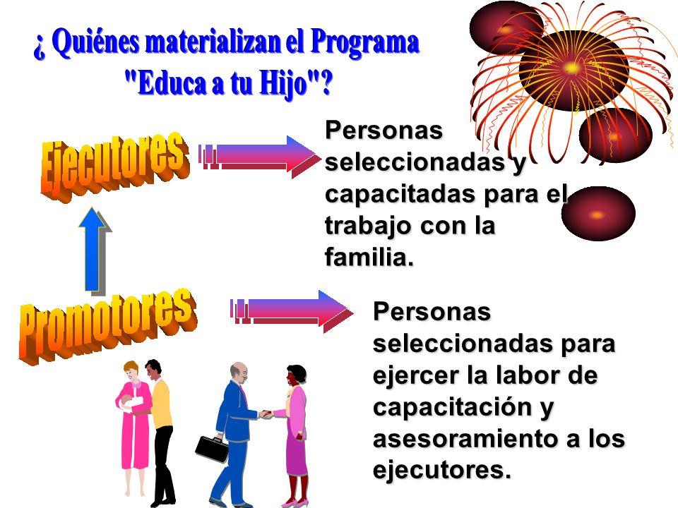 Personas seleccionadas para ejercer la labor de capacitación y asesoramiento a los ejecutores. Personas seleccionadas y capacitadas para el trabajo co