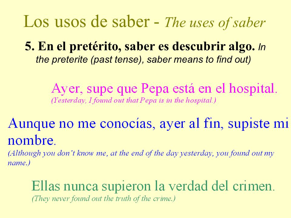 Los usos de saber - The uses of saber 4.
