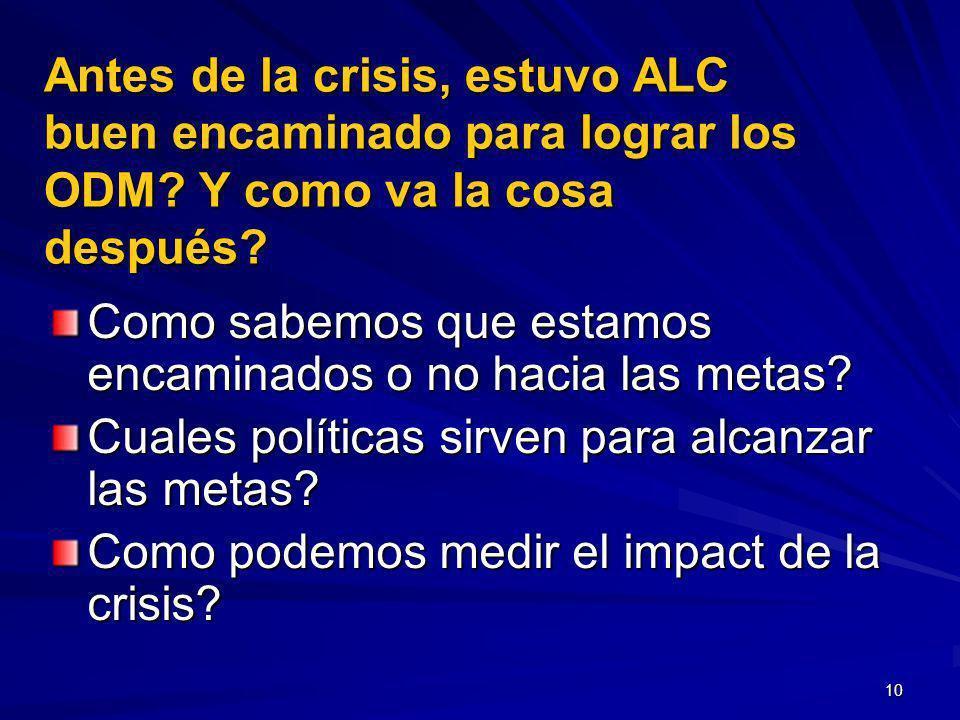 10 Antes de la crisis, estuvo ALC buen encaminado para lograr los ODM.