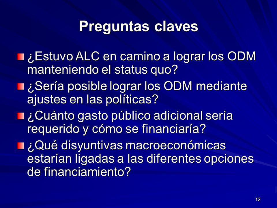 12 Preguntas claves ¿Estuvo ALC en camino a lograr los ODM manteniendo el status quo.