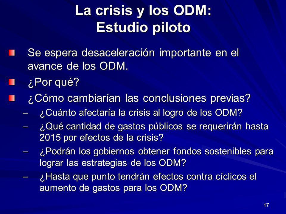 17 La crisis y los ODM: Estudio piloto Se espera desaceleración importante en el avance de los ODM.